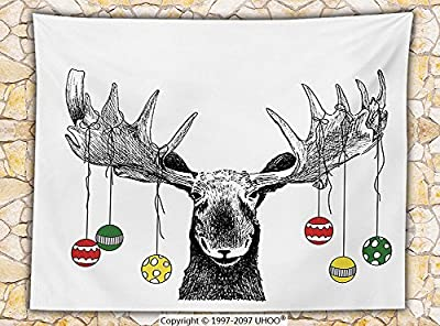Moose Decor Fleece Throw Blanket Christmas Moose with Xmas Ornaments Balls Hanging from Horns Funny Noel Sketch Art Throw Multi
