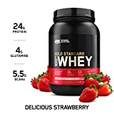 Optimum Nutrition Gold Standard 100% Whey Protein Powder, Delicious Strawberry, 2 Pound (Packaging May Vary)