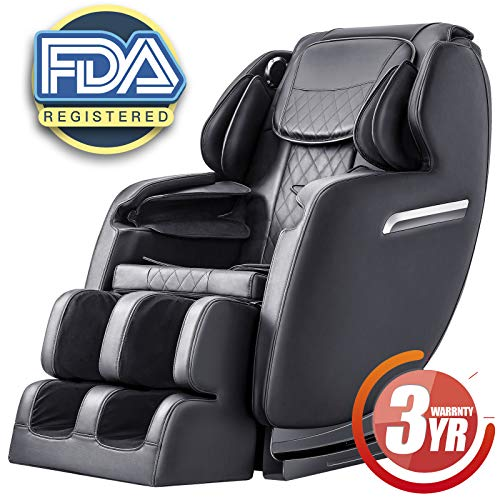 Massage Chair Recliner, S-track Zero Gravity Full Body Shiatsu Luxurious Electric Massage Chair with Stretched Tapping mode Heating back and Foot Rollers Black (Black) (Black)