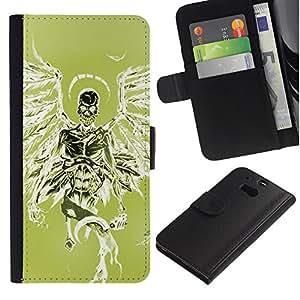 KingStore / Leather Etui en cuir / HTC One M8 / Verde Death Angel alas verdes cráneo