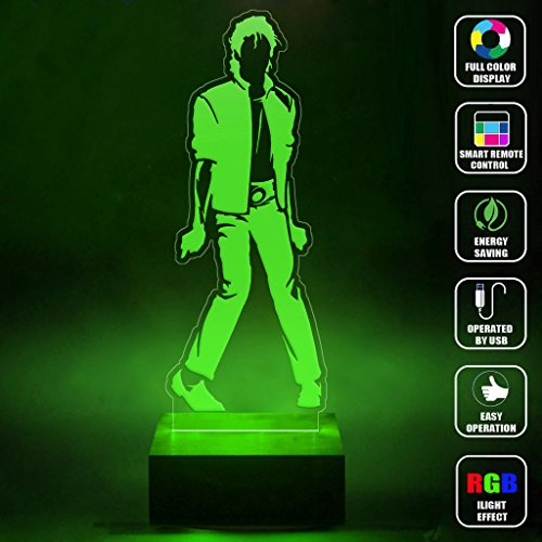 [CMLART Handmade Michael Jackson Art Design 3d Lamp RGB Full Color 44 Key Remote control LED Night Light Best Gift Desk Table Lighting Home Decoration] (Michael Jackson Decorations)