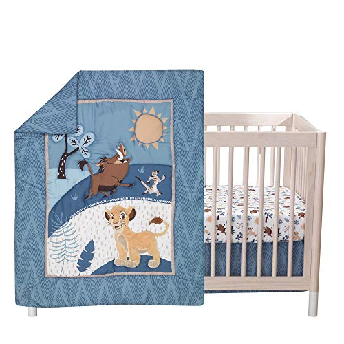(Lambs & Ivy Lion King Adventure 3Piece Baby Crib Bedding Set, Blue)