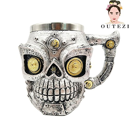 FENHAR New Skull Mug Double Wall Stainless Steel 3D Skull Mugs Coffee Tea Bottle Mug Skull Warrior Tankard Drinking Cup