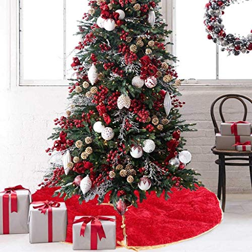 IslandseLong Hair Non-Woven Christmas Tree Skirt Ornament 35inch Diameter Christmas - 35 Inch Mats