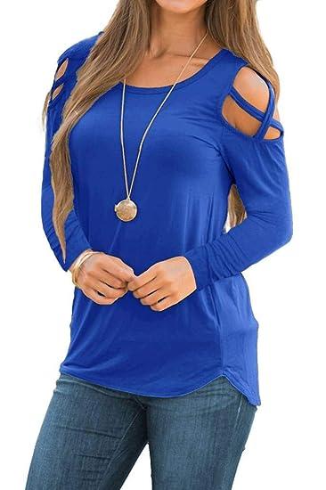 30d9c1d7a350b Amazon.com  EZBELLE Women s Strappy Cold Shoulder Tops Long Sleeve T Shirt  Plain Loose Tunic Blouses  Clothing