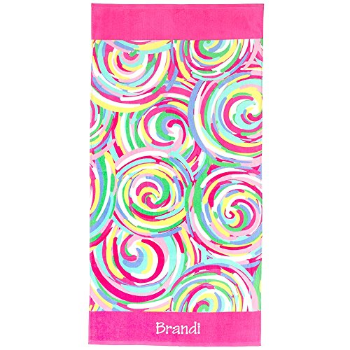 "Personalized Summer Fun Cotton Beach Towels 60"" x 30"