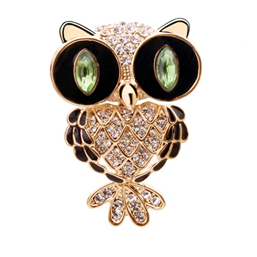 Time Pawnshop Fashion Lovely Owl Cubic Zirconia Charm Brooch