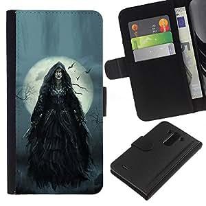 A-type (Night Moon Halloween Grey) Colorida Impresión Funda Cuero Monedero Caja Bolsa Cubierta Caja Piel Card Slots Para LG G3
