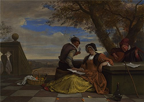 - High Quality Polyster Canvas ,the High Definition Art Decorative Canvas Prints Of Oil Painting 'Jan Steen Two Men And A Young Woman Making Music On A Terrace ', 24 X 34 Inch / 61 X 86 Cm Is Best For Laundry Room Artwork And Home Artwork And Gifts