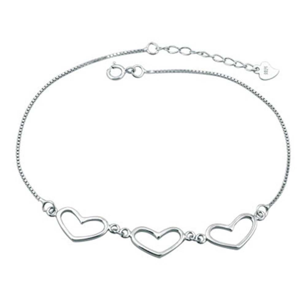 Jesse Ortega 925 Sterling Silver Hearts Love Anklet Adjustable Ankle Bracelet