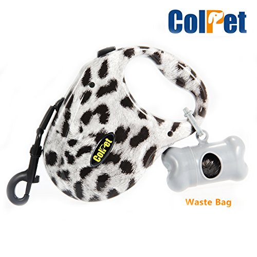 [Retractable Dog Leash - Colpet CP-DL01 Retractable Tangle Free Dog Leash One Button Break and Lock, 16ft for Small Medium Large Dogs up to 110bl, Zebra] (4 Cp Double Handle)