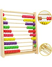Holz Abakus Kinder Rechenschieber Zählrahmen Lernen bis 100, Holzzählrahmen Rechenmaschine Berechnen Perlen Abacus Lernhilfe für die Grundschule Spielzeug ab 3 4 5 Jahren