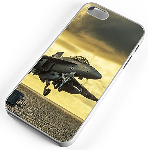 (iPhone 8 Plus 8+ Case Jet Aircraft Takeoff Aircraft Carrier Sea Ocean Customizable TYD Designs in White Rubber)