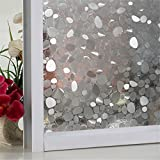 Yanqiao Cobblestone Pattern Premium No-Glue 3D Static Decorative Privacy Window Films 17.7''x 39.4''