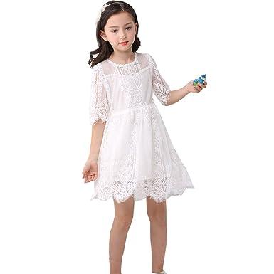 Amazon com: Siaoryne Little Girls White Lace Short Flower