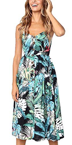 Salimdy Womens Floral Spaghetti Strap Summer Bohemian Front Button Midi Dress with Pockets (S, 0822green) ()