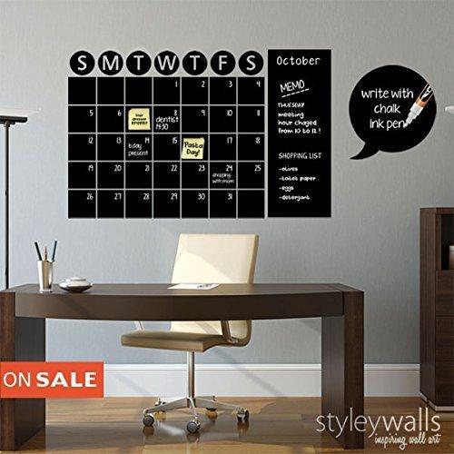 Amazon.com: Chalkboard Calendar Wall Decal, Chalkboard Wall Decal ...