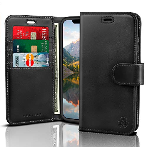 REALIKE Apple iPhone X Genuine Leather Case Flip Cover Wallet Case with Card Holder Slots Magnetic Closure Shockproof Bumper Protection for Men and Women Black Color