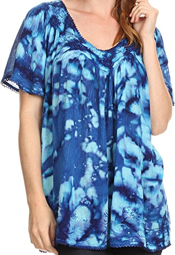 Sakkas 16780 - Laylah Long Wide Short Sleeve Embroidery Lace Sequin Blouse Shirt Tunic Top - Royal Blue - OSP