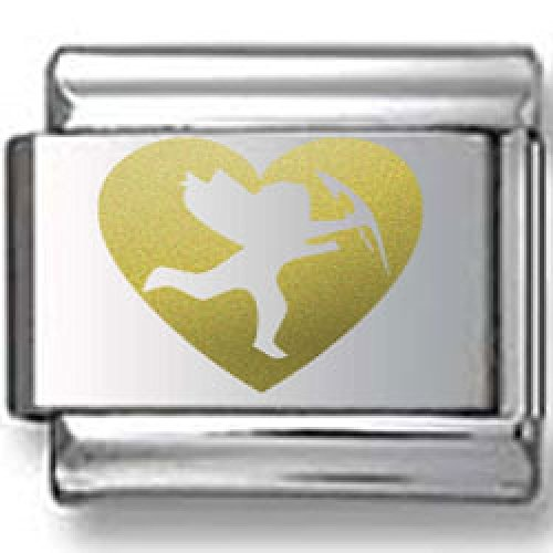 Bold Heart with Cupid Gold Laser Italian Charm Bold Laser Italian Charm