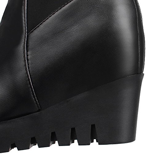 Top Womens High High Boots Solid Heels AllhqFashion Pu Black Frosted Zipper qRw7qS