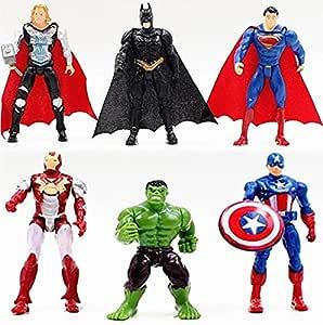 مجموعة من 6 قطع من شخصيات بطل خارق أفنجرز الرجل الحديدي هالك كابتن أمريكا وسوبر مان أكشن مجموعة هدايا للأطفال