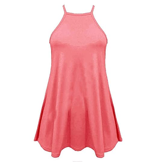 Le Plus Mujer Acampanado flotador tiras en forma de alta cuello Plain Cami chaleco sin mangas Swing camiseta de tirantes camiseta de tirantes camiseta Plus ...