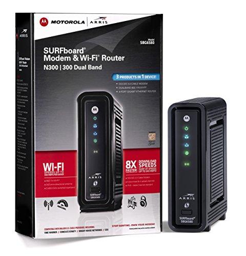 ARRIS  Motorola SURFboard SBG6580 DOCSIS 3.0 Cable Modem Wi-Fi N Router- Retail Packaging (570763-006-00)