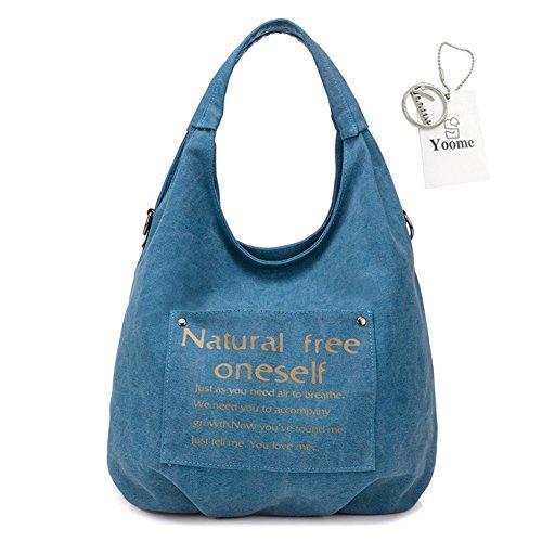 Canvas Blue Purse Totes Ladies Large Letter Yoome Capacity Vintage Shoulder Hobo Fashion Bags Handbag aqOH7wE