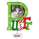 """Hallmark Keepsake 2016 """"Cat  Purr"""" Dated Picture Frame Holiday Ornament"""