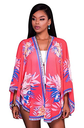Women Sexy 3/4 Batwing Sleeve Floral Print Loose Outwear Blouse Beach Cover Up