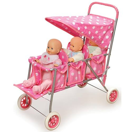 Polka Dots Triple Doll Stroller