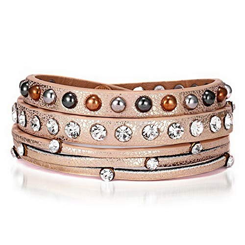 Mikash Fashion Women Multilayer Leather Magnet Wrap Cuff Charm Bracelet Jewelry Gifts | Model BRCLT - 12337 | ()