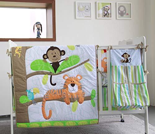 (Tiger Monkey Nursery Crib Bedding Set 5 Pieces Baby Boy Bedding Set Newborn Crib Bedding Set with Bumpers & Diaper Stacker Gift Idea)