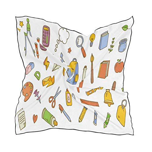 Silk Scarf School Supplies Element Pattern Square Headscarf 23 x 23 inches for Women
