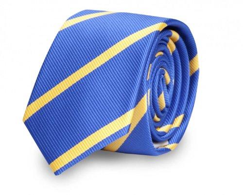 Étroit Cravate de Fabio Farini à rayures en bleu jaune