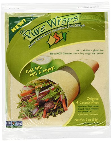 Pure Wraps, Paleo Coconut Wraps, Original Flavor, 8 Count (2 Packs of Four Wraps)