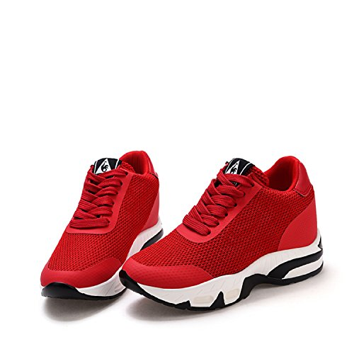 Sportschuhe Damen Rot Keilabsatz Wedges Keilabsatz Sneakers 8cm Turnschuh LILY999 mit Freizeitschuhe Yqwavdd