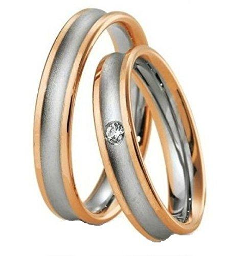 Anillos de Compromiso Hombre y Mujer Partner anillos de acero inoxidable chapado en oro para hombre