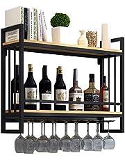 Peaceip Wall-mounted Industrieel Wijnrek met glazen beugel   2-laags hangend wijnglazen rek   Wijnrek met glazen plank   2-laags flessenrek Wandmontage   Wijnaccessoires