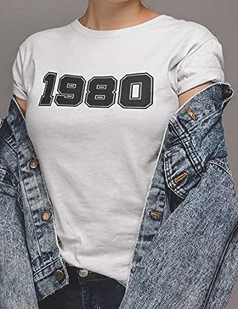 عتيق تيشيرت1980 بلايز نسائي قطن، ابيض، L