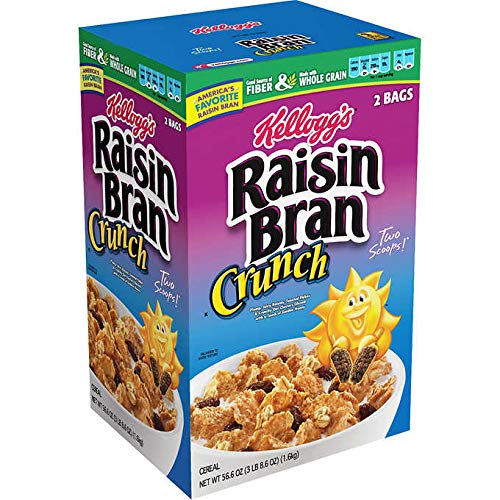 - Kellogg's Whole Grain Raisin Bran Crunch Breakfast Cereal: 2 Bags (56.6 oz)