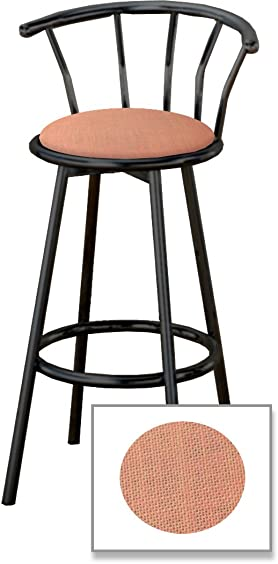 The Furniture Cove New 29 Tall Black Metal Finish Swivel Seat Bar Stools with Pink Burlap Seat Cushions