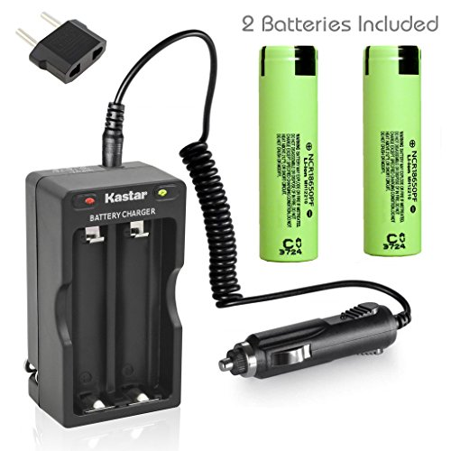Kastar 18650 Dual Rapid Intelligent Charger W/Car Charger & NCR18650PF Battery (2 Pack), Panasonic Rechargeable 2900mAh (High Drain 10A) Flat Top for Electric Tools, Toys, LED Flashlights and Torch