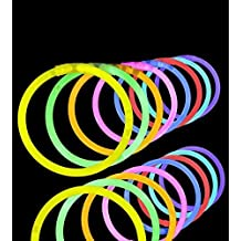 "Lumistick 100 Count 8"" Light-Up Premium GlowSticks/Bracelets in Glowsticks - Comes With Bracelet Connectors - Perfect for Birthdays, Parties, Performances, Halloween & More!"