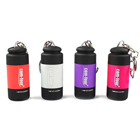 com-four® 4X USB Mini LED Linterna Recargable Impermeable Llavero (04 Piezas - Rojo/Morado/Gris/Rosa)
