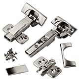 Blum CLIP top BLUMOTION Soft Close Hinges, 110 degree, Self Closing, Frameless, with Mounting Plates and hinge cover plates (Full overlay Premium - 8 Pack)