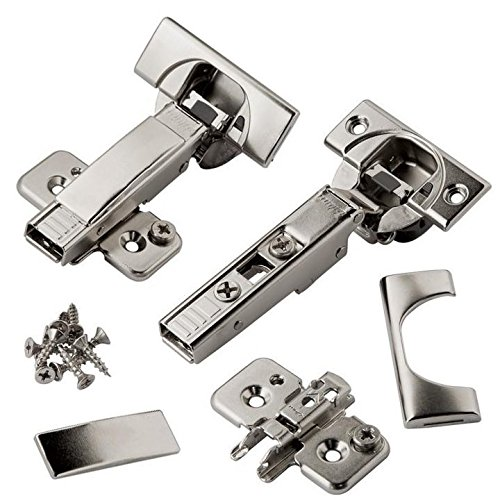 (Blum CLIP top BLUMOTION Soft Close Hinges, 110 degree, Self Closing, Frameless, with Mounting Plates and hinge cover plates (Full overlay Premium - 8 Pack) )