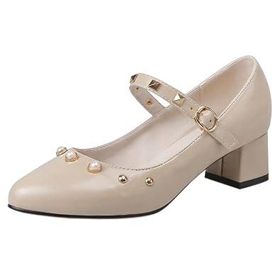 JOJONUNU Damen Mode-Event Mary Jane Pumps Blockabsatz Nieten Black Size 34 Asian tePkl
