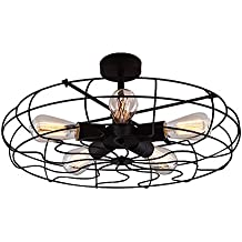 BAYCHEER HL371436 Industrial Vintage style 110V Semi Flush Mount Ceiling Light Metal Hanging Fixture Pendant lighting for indoor, use 5 E26 Light Bulbs, Black
